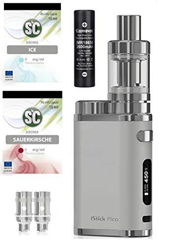 E-Zigarette SC produced by Eleaf Pico iStick 75W | Einsteiger Starterset 2600mAh Keepower Akku | TC (Temperaturregelung) | mit SC Liquids - 00mg Nikotinfrei