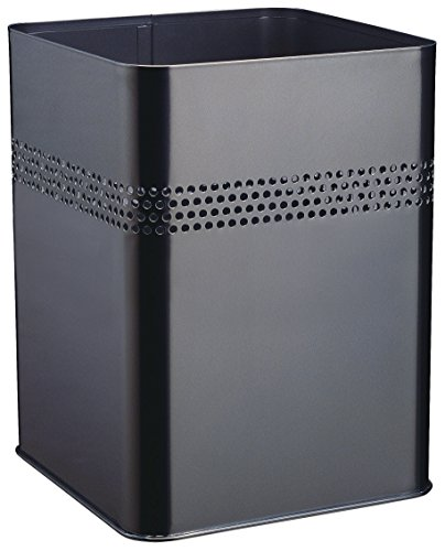 Durable 332001 Papierkorb Metall eckig 18,5 Liter, Perforation 30 mm, schwarz