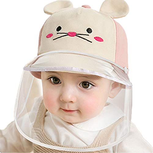 Dual-use Sun Visor Hat Kids Isolation Protection Caps Adjustable Foldable Brim (48yards(6-12 Months), Pink)