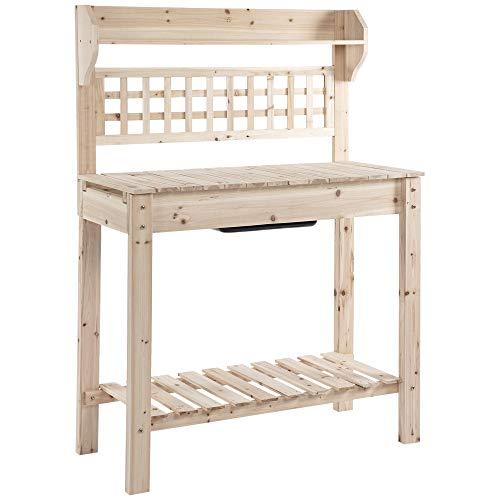 Outsunny Banco Tavolo da Lavoro per Giardinaggio in Legno Naturale con Vaschetta Integrata e Mensole 100x45x140cm