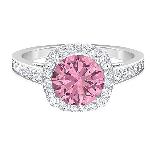 Anillo de compromiso vintage, 2,7 ct D-VSSI Moissanite, anillo de turmalina de 8 mm, anillo solitario de halo, colección de joyas de oro nupcial, anillo de fiesta, 10K Oro blanco, Size:EU 54