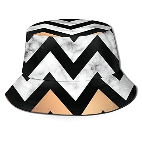 Lawenp Diseño de Textura de mármol con Formas geométricas Doradas Unisex Fisherman Bucket Sun Hat UVSummer Reversible Bucket Caps para Acampar al Aire Libre Pesca Rain Safari Boonie Cap