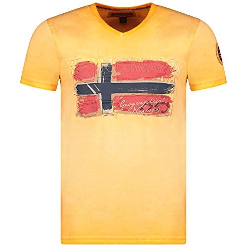 Geographical Norway JOASIS Men - Maglietta in Cotone da Uomo, Casual, con Stampa, Logo Grafico, Maniche Corte, Scollo a V, vestibilità Regolare da Uomo (Arancione, M)