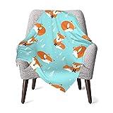 Bold And Brash Cartoon Fox Flannel Fleece Baby Blanket, Soft Microfiber Cozy Lightweight Sofa Travel Blanket for Toddler, Infant, Newborn