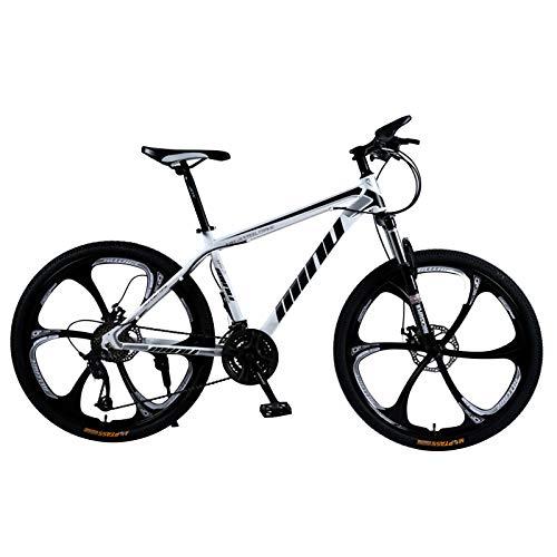 21 Velocità (24 Velocità, 27 Velocità, 30 Velocità) Bicicletta Mountain Bike 26 Pollici MTB Bici Biammortizzata Doppio Freno A Disco in Acciaio/High-Carbonio Telaio Mountain Bike ,Bianca,24 speed