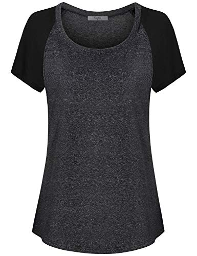 Cestyle Workout Clothes for Women, Misses Activewear Moisture Wicking Raglan Sleeve Contrast Color Performance Compression Burnout Workout Clothes Dark Grey XX-Large