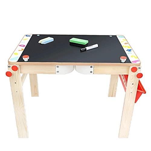 Tabla de dibujo de dos en uno, pizarra multifuncional, tabla elevable, escritura de doble cara, tabla de dibujo de madera para niños (color: negro) (color: negro)