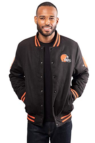 Ultra Game NFL Cleveland Browns Mens Classic Varsity Coaches Jacket, Team Color, Medium