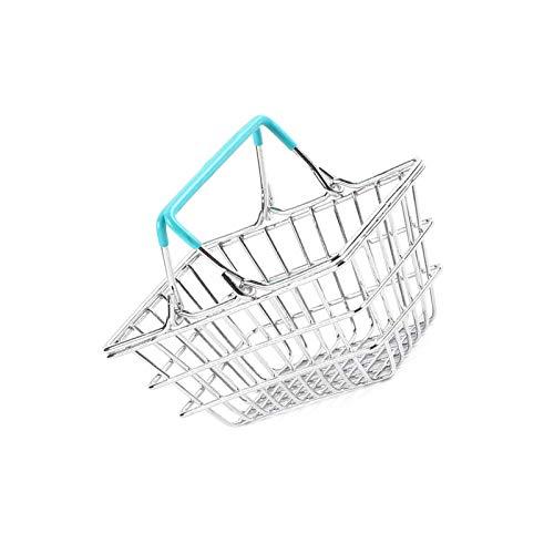 BANGSUN Cesta de la compra de metal en miniatura para niños, color azul