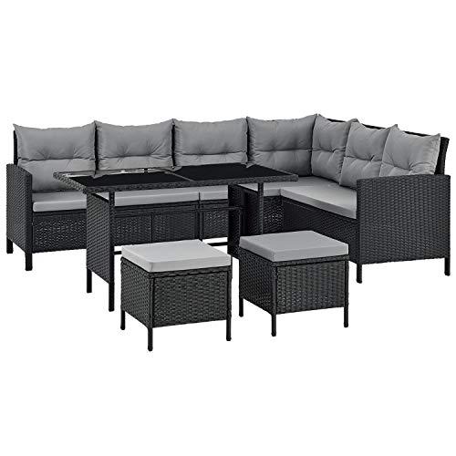 ArtLife Polyrattan Lounge Manacor | Gartenmöbel Set mit Sofa, Tisch & 2 Hockern | Bezüge grau | Sitzgruppe für Garten, Terrasse & Balkon