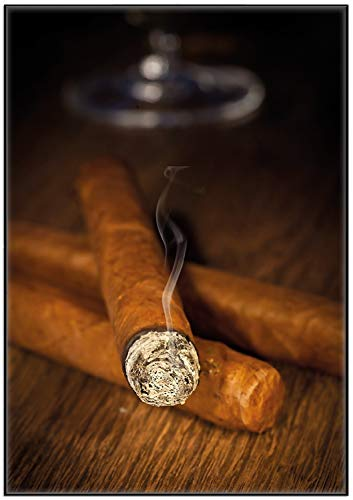 Wallario Wandbild Zigarre am Abend in Premiumqualität mit schwarzem Rahmen, Größe: 70 x 100 cm