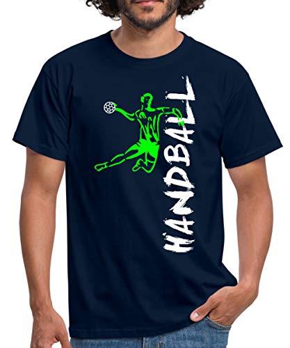 Handball Handballer Sprungwurf Seitlich Männer T-Shirt, L, Navy