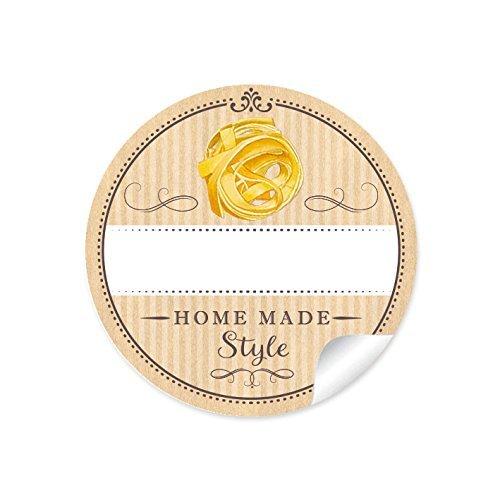 24 STICKER: 24 Schöne Pasta Etiketten für die Küche in Natur mit Tagliatelle