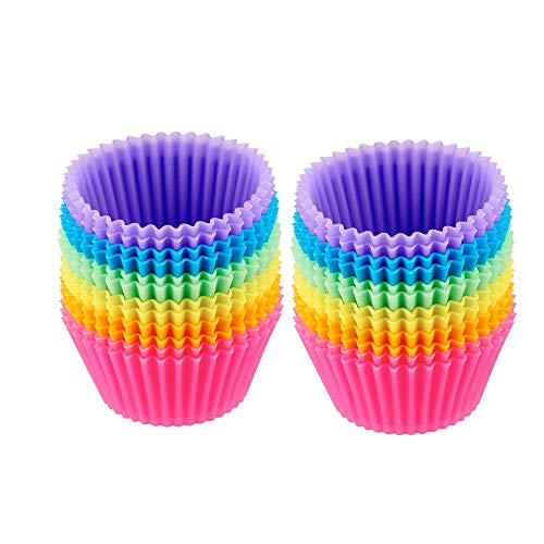 Cynthiaaa Baking Cups Reusable Silicone Muffin Cases Cupcake Wrapper Paper Liner Mold Cake Cup DIY Pastry Tools (24PCS)