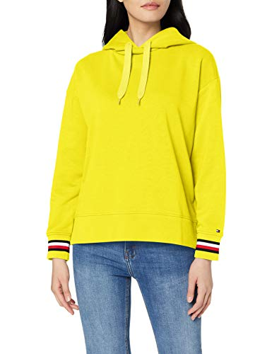 Tommy Hilfiger Damen Diana Hoodie LS Strickjacke, Gelb (Cyber Yellow 836), Small(Herstellergröße:S)