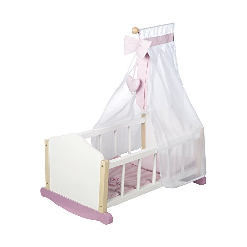 """Cuna para muñecas roba de la serie de muebles para muñecas \""""Scarlett\"""", cama de muñecas basculante, incluye vestiduras, cuna y textiles, accesorio para muñecas, lacada en blanco"""