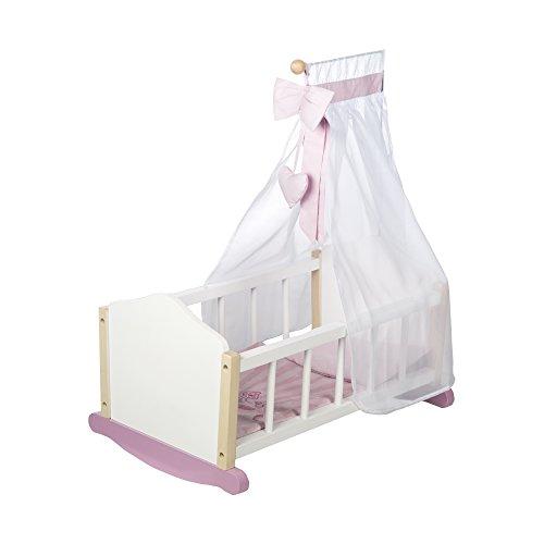 roba Berceau pour poupées de la collection 'Princesse Scarlett', berceau pour poupées, berceau avec accessoires textiles, literie et ciel du lit et support ciel du lit et accesoires, laqué en blanc.