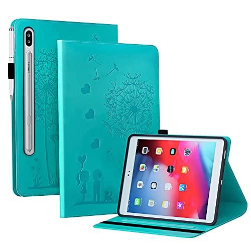 Funda para Samsung Galaxy Tab S7 Plus/S7 FE 12.4' (SM-T970/T976B) + Protector Pantalla, Slim Carcasa Cuero PU Silicona y Multiángulo y Soporte Case Cover Protector - Diente de león Azul