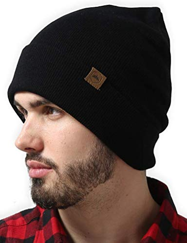 Cuffed Knit Beanie Winter Hats for Men and Women - Toboggan Cap for Cold Weather - Warm, Soft & Stretchy Daily Ribbed Acrylic Stocking Hat - Lightweight & Stylish Ski, Skate & Snow Caps Black