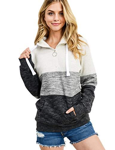 esstive Women's Ultra Soft Fleece Midweight Casual 1/4 Zip-Up Pullover Hoodie Sweatshirt