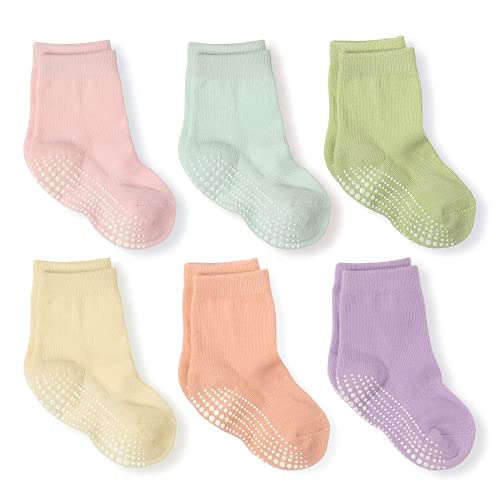 LA Active Calcetines Deportivos Antideslizantes - 6 Pares - Bebé Niño Pequeño Infante Recién Nacido Chicos Chicas Anti Deslizante/Patinazos (Pasteles, 6-12 Meses)
