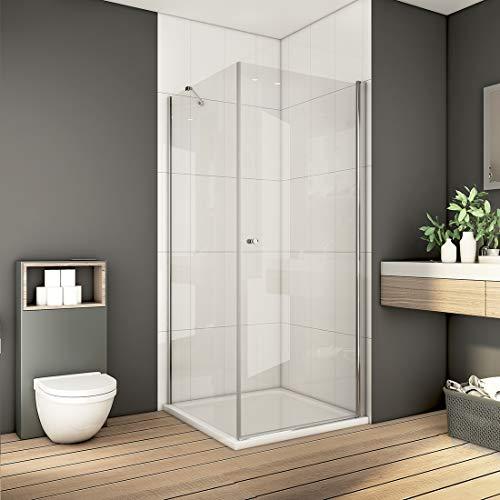 Bath-mann 80 x 80 cm Eckeinstieg Duschkabine Duschabtrennung Pendeltür Duschwand mit Seitenwand | 80cm Schwingtür Duschwand Tür + 80cm Seitenwand, Höhe: 185 cm (6mm Sicherheitsglas Nano Glas)