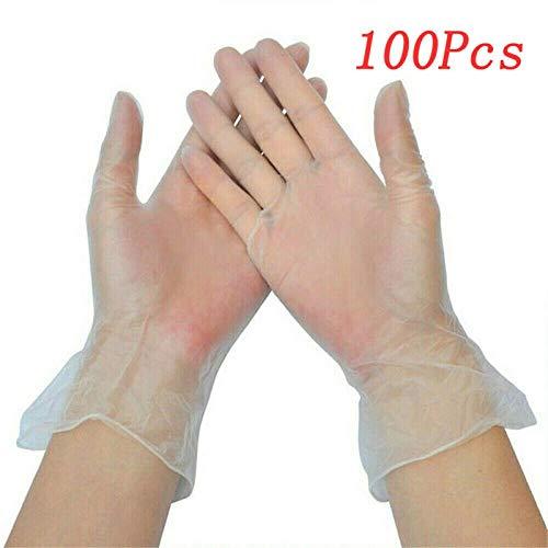 hmmsw 100 Stück Box Einweg Vinylhandschuh Multifunktions transparent transparent dünn wasserdicht für Hausarbeit Saubere Küchenbackhandschuhe 3 Größen-L.