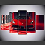 TTTRR Impresión En Lienzo Coche deportivo Ferrari 5 Piezas Cuadro sobre Lienzo, Modernos Grandes Arte Decoracion Salon Dormitorios Mural Pared Listo para Colgar 150*80 Cm