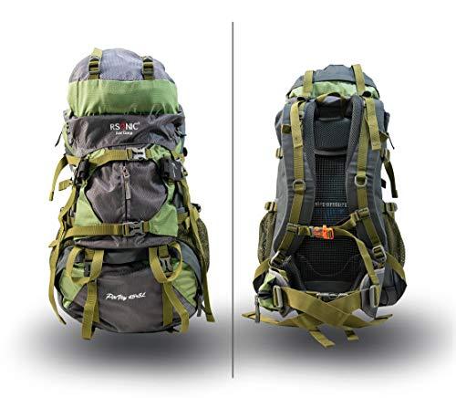 RSonic Zaino da Escursionismo, da Viaggio, con Sistema Aircomfort, 50 Litri (45 + 5 Litri), Impermeabile, con Protezione Antipioggia, Colore: Verde