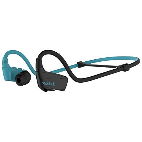 DIVACORE - Redskull - Auriculares Deportivos inalámbricos - Interior/Exterior - Ajuste Resistentes al Agua, al Polvo y al Sudor - Micrófono Incorporado - Batería de 10 Horas - Azul