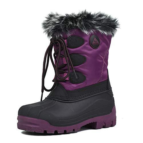 Nova Mountain Boys Girls Little Kids Winter Snow Boots,NF NFWBNN820 Purple 12