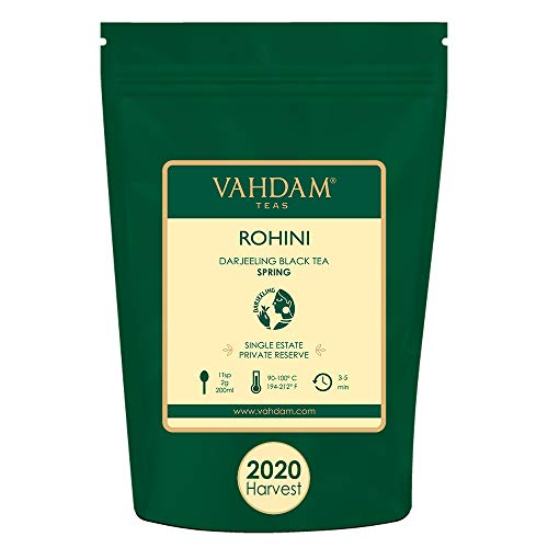 VAHDAM, Té Negro Darjeeling Rohini Clásico de Primera Cosecha 2020 (100g)   100% Puras Hojas de Té Negro Darjeeling de la   Té Single Estate Recién Recolectado   +50 Tazas