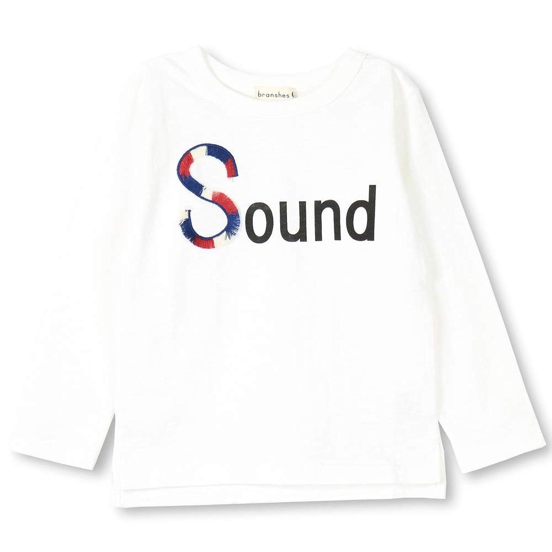 [ブランシェス] フリンジロゴデザイン 長袖 Tシャツ