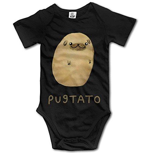WlQshop - Mono de bebé con nariz de carlino y patata Blanco blanco 12 Meses