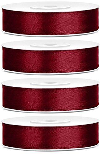 SiDeSo® Satinband 100m x 12mm (4x25m Rolle) viele Farben Hochzeit Dekoband Geschenkband Antennenband Schleifenband (Bordeaux rot)