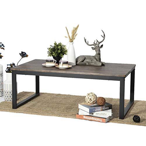 Aingoo Mesa de centro Mesa para Sofá Diseño industrial Mesa de madera maciza y metal 110 x 60 x 45 cm