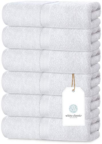 Luxury White Hand Towels - Soft Circlet Egyptian Cotton   Highly Absorbent Hotel spa Bathroom Towel Collection   16x30 Inch   Set of 6