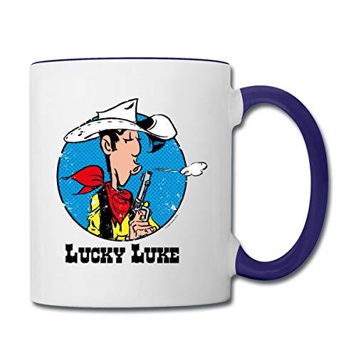 Lucky Luke mit Pistole Tasse zweifarbig, Weiß/Kobaltblau