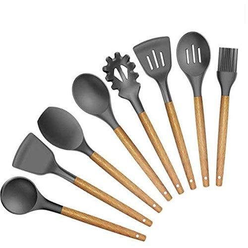 GAOFQ Heat Resistant Kitchen Utensils Set - Wooden Handle Silicone kitchenware Set Non-Stick Shovel Spoon Heat-Resistant Kitchen Baking Tools 8 Sets