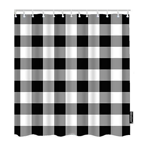 Moslion Duschvorhang-Set mit klassischen weißen schwarzen Streifen, Gingham-Karo, Karomuster, für Badezimmer, dekorativer wasserdichter Polyester-Stoff mit Haken, 183 x 183 cm