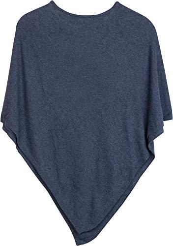 styleBREAKER Damen Feinstrick Poncho in Unifarben, leicht asymmetrischer Schnitt, Ärmellos, Rundhals 08010042, Farbe:Blau