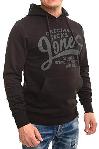 Jack and Jones Hoodie Herren , Pullover Männer, Pulli mit Kapuze, Kapuzenpullover (Black Origin/Slim 875), M