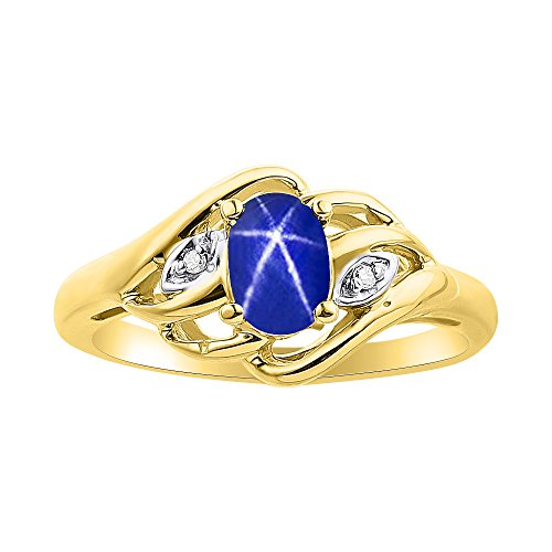 Juego de anillos de zafiro con estrella azul y diamante en oro amarillo de 14 quilates