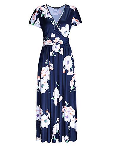 OUGES Sommerkleid Damen Langarm/Kurzarm V-Ausschnitt Kleider Casual Boho Kleid Maxikleid mit Taschen Partykleid