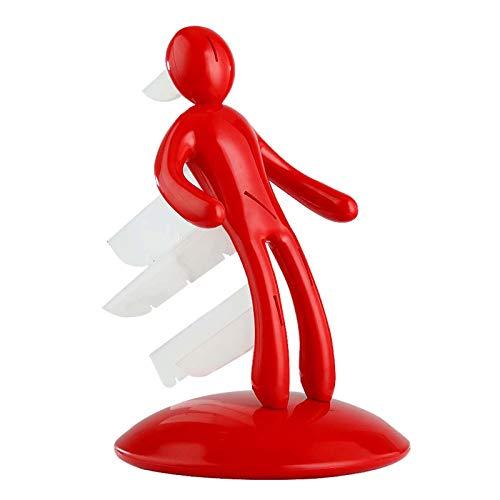 Rote Menschliche Figur Messerblock Universal Messerhalter Küchenmesserblock Aus ABS Für Eine Organisierte Und Aufgeräumte Küche, Messerhalterblock, Besteckständer, 5 Steckplätze