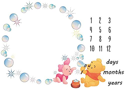 Baby Monthly Milestone Blanket Newborn Photo Props Shoots Backdrop Personalized Animal Yellow Bear Pink Elephant Blowing Bubbles Photography Growing Infants Toddlers Soft Fleece Swaddle Blanket