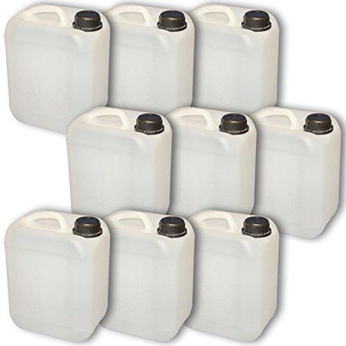 Set 9 x 5 Liter Leerkanister Neu mit Sicherheitsverschluss (DIN 45) | Lebensmittelecht | Tragbar Stapelbar und Stabil | Indoor und Outdoor | BPA Frei | Made in DE