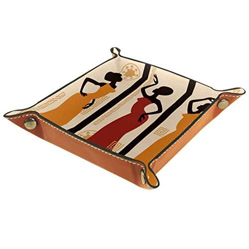 Bandeja de Cuero - Organizador - Estilo popular india - Práctica Caja de Almacenamiento para Carteras,Relojes,llaves,Monedas,Teléfonos Celulares y Equipos de Oficina