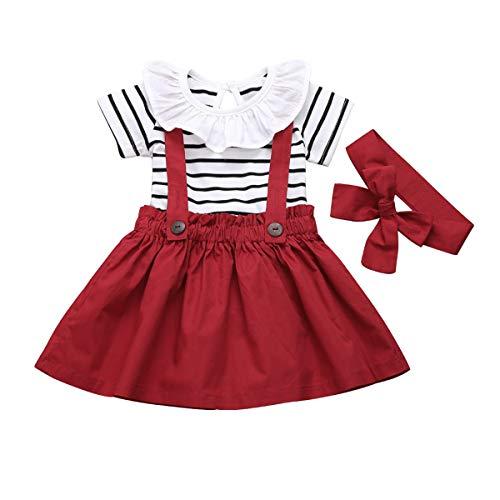 DaMohony 3-delige kledingset voor meisjes, gestreept shirt met ruches + rok + haarband