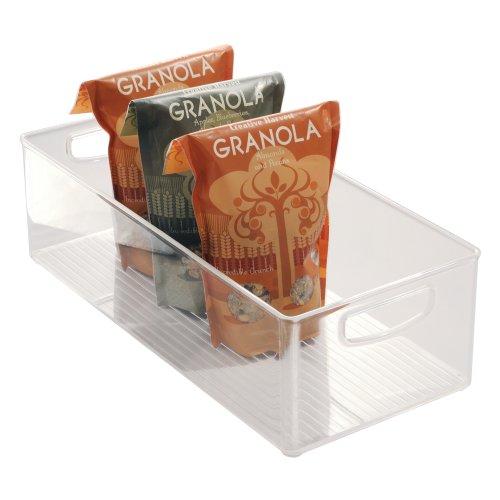 iDesign bac rangement frigo, grande boîte alimentaire spacieuse en plastique, boîte conservation alimentaire à poignées, transparent